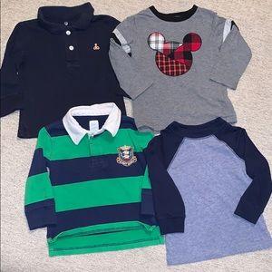 Bundle 4 long sleeve toddler boy shirts